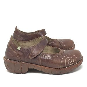 El Naturalista Brown Leather Mary Jane Shoes 6.5